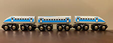 Toys R' Us Wooden Railway 3pc White Bullet Train works w/ Thomas & Friends, Brio