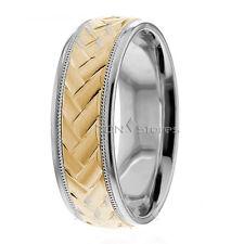 Wedding Bands, 7mm, 10K Solid Gold Designer Wedding Ring, Size 4-13 Made in Usa