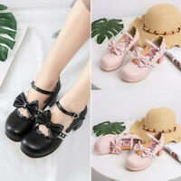 Women Cute Mary Jane Shoes Lolita Ankle Strap Thick Heel New Bow Platform Pumps