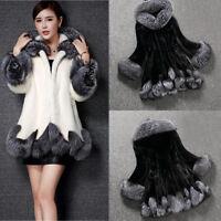 Fashion Women Winter Warm Solid Long Sleeve Parka Outwear Casual Faux Fur Coat