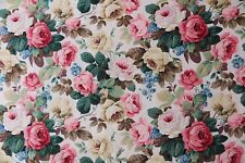 Sanderson Curtain Fabric Chelsea 1.2m White/pink Cotton Floral Design 120cm