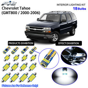 18 Bulbs Cool White LED Interior Light Kit For 2000-2006 GMT800 Chevrolet Tahoe