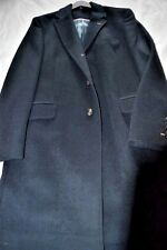 $895 NWT THOMAS PINK 42 EU52  Navy wool CASHMERE men's over coat Chesterfield