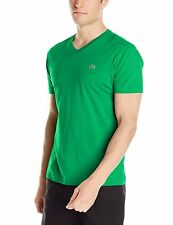 NWT MEN'S LACOSTE PIMA JERSEY V-NECK T-SHIRT, CHLOROPHYLL (GREEN), SIZES: M-3XL