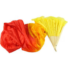 4 Colors  Colorful Hand Made Dance Belly Dancing Silk Bamboo Long Fans Veils YF