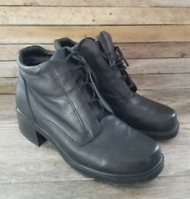 EARTH SHOE Black Leather Lace Up Ankle Boots Chunky Heel, Size 8.5, EUC, SMART!