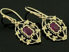 E069 - Genuine 9K Solid Gold NATURAL Ruby Filigree Earrings Ornate Drops Dangle