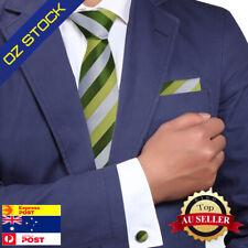 Green silver striped gift for holidays silk necktie cufflinks hanky Y&G H5134
