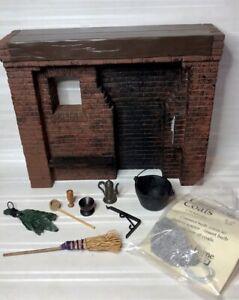 "Vintage Dollhouse Miniature Tudor/medieval ""Brick"" Fireplace & Accessories 1:12"