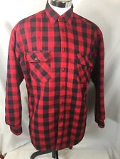 Woolrich Size Large Quilted Lined Shirt Red Checked L