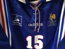 MAILLOT PORTE FRANCE TURQUIE 1996 match worn shirt coupe monde 98 Lilian Thuram