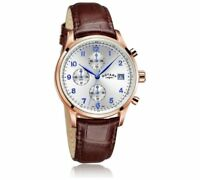 REDUCED Mens Rotary GS03083 Watch Gold Plated Slim Champagne multi dial RRP £230