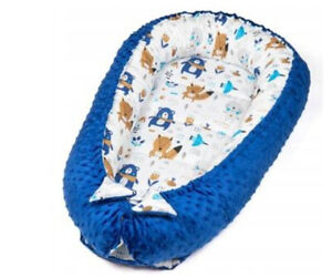 Baby Nest Pod Bed Newborn Pod Cocoon Sleeping Baby Bed Blue Large Reversible