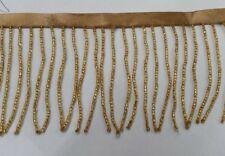 10 yards ,3 inches, seed bugle beaded fringe gold ,usa seller