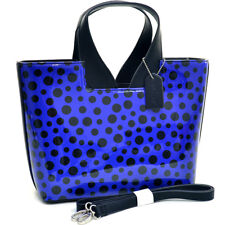 New Dasein Womens Handbags Glossy Leather Satchel Tote Bags Polka Dot Purse Blue