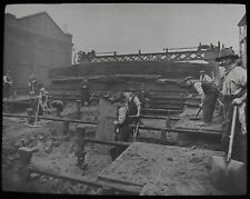 Glass Magic Lantern Slide BECKTON GAS WORKS NO22 C1930 LONDON PHOTO  WORKERS