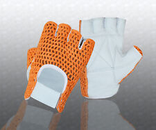 Gel Padded Leather Crochet Weight Training Cycling Driving Wheelchair Gloves