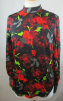 NWT MOSSIMO WOMENS SMALL BLOUSE SHIRT TOP SILKY FLORAL PRINT LONG SLEEVES CAREER
