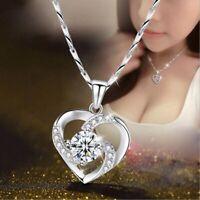 925 Silber Frauen Damen Halskette Herz Zirkon Anhänger Schmuck Verstellbar Kette