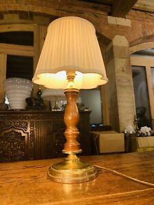 Antique Oak Carved Table Lamp, Elizabethan Style Candlestick Lamp Brass Base