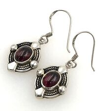 Vintage Boma .925 Sterling Silver & Red Tourmaline Decorative Wire Earrings