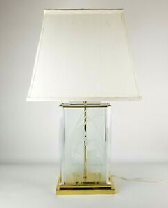 Hollywood Regency Lamp Lucite Brass Frederick Ramond Etched Glass Iris Flower