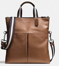 NWT Coach Men's Foldover Smooth Leather City Tote F54759 Dark Saddle 60%OFF!WOW!