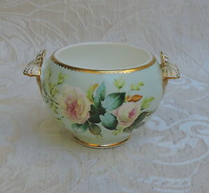 19th C Staffordshire Hand Painted Porcelain Tiny Cache Pot - Plant Pot -