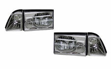 DEPO CHROME HEADLIGHTS PARKING LIGHTS PAIR L+R COMBO SET FOR FORD MUSTANG 87-93