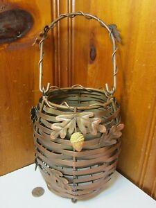 "Metal Copper Toned 7"" Basket w/ Handle Acorn Leaf Accents Candle Holder Lantern"