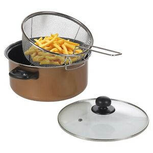 Stove Top Chip Deep Pan Fat Fryer Set Copper Look Frying Basket Clear Glass Lid