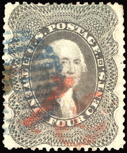 Classic #37a 24c Gray 1860 VF-XF Used Red & Blue Cancels