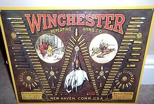 WINCHESTER GUNS, CARTRIDGES :ANTIQUE-STYLE METAL WALL SIGN 41x31cm/ SHOOTING usa