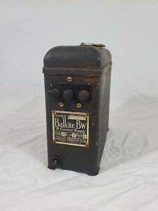Antique Vtg 1920's Balkite BW B-Current Supply Radio Receiver Fansteel Very Rare