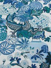 Schumacher Curtain Fabric 'CHIANG MAI DRAGON' 3 METRES CHINA BLUE - 100%Linen