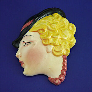 """Vintage Art Deco Style Cope & Co. No 13 Lady Wall Mask (1930s) 18.5cm/7.25"""" High"""