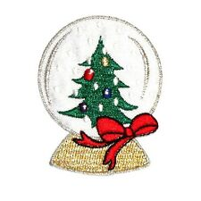 ID 8152A Christmas Tree Winter Snow Globe Embroidered Iron On Applique Patch