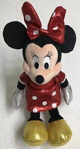 "Minnie Mouse Doll Red Polka Dot Plush Toy Ty Disney Sparkle Medium 17"""
