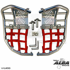 Yamaha YFZ 450  Nerf Bars  Pro Peg Heel Guard  Alba Racing  Silver Red 199 T7 SR