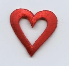 Iron On Embroidered Applique Patch Small Red Open Heart 1""
