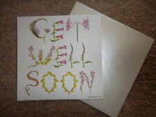Alphabet Art Get Well Soon Flowers Card 15 cm x 15 cm