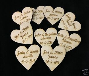 Personalised Wooden Love Hearts 4cm Table Decorations Wedding Party Favours
