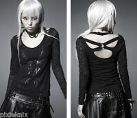Punk Rave Black Gothic Top With Lace Sleeves and Straps at Back T-324
