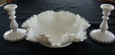 """Fenton's Silver Crest Console Set, 11"""" Bowl & 6"""" Candle Holders"""