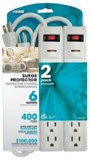 WIRE & CABLE 6-OUTLET 400J SURGE PROTECTION 1.5FT 2 PACK (PB2013X2-WH44-A04)