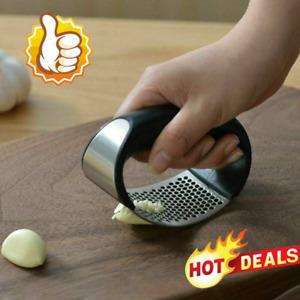 Steel Garlic Press Crusher Manual Rocking Squeezer Mincer Kitchen Tool