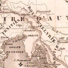 Carte XIXe Royaume d'Italie Illyrie Illiria Illyria Albanie Albania 1834