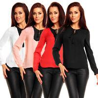 Sexy Damen Chiffon Bluse Tunika Shirt Top Troddeln elegant Büro Party S 34 36 38