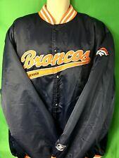 C6 NFL Denver Broncos Vintage Quilted Satin Bomber Jacket By Reebok Men's 2XL