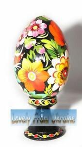 Folk Art Ukrainian Hen Pysanka Hand painted Hand Carved handmade Wooden eggs
